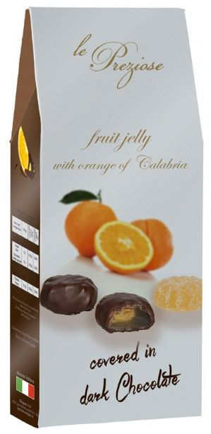 Le Preziose Italian Orange Fruit Jellies Covered In Chocolate 150g